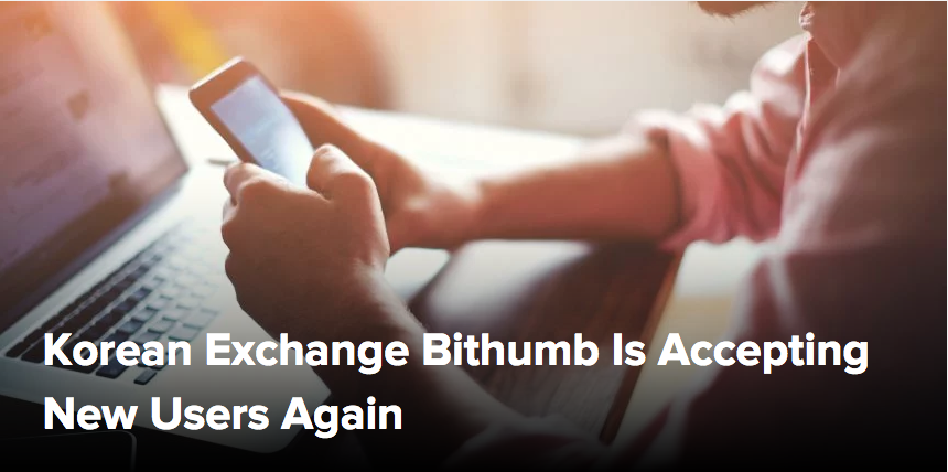 Korean Exchange Bithumb Re-Opens Registration to New Users